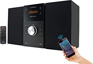 LONPOO Stereo Shelf System Hi-Fi Sound Speaker CD Player 30W RMS Micro Mini System with Remote Control, Bluetooth, FM Radio, USB MP3 Playback & Aux-in,Black
