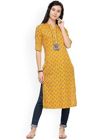 6c192050a09 Amazon.com  Hiral Designer mall Indian Women Mustard Yellow Printed Kurta  Kurti Cotton Clothing Dress (L)  Clothing