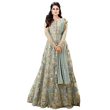 Royal Export Womens Net A Line Long Party Wear Gown Grey Maisha