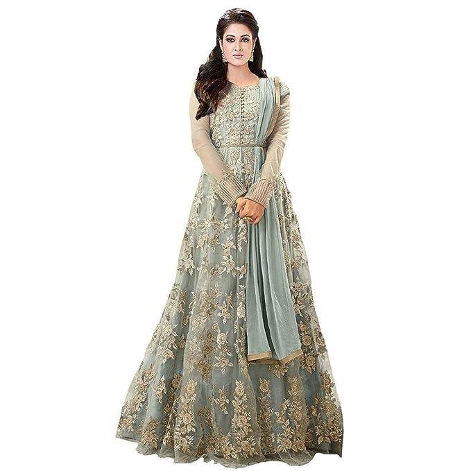 Royal Export Women s Net A-line Long Fullstitched Dress  Amazon.in ... 000d8a0da