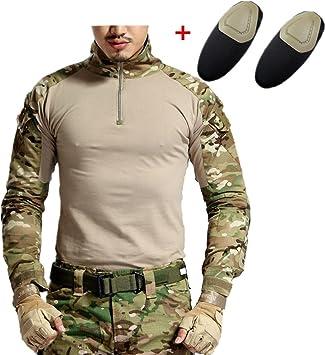 haoYK Camisa táctica de Airsoft de la Manga Larga de Paintball BDU Militar Camisas tácticas de Camo con Las Placas de Codo: Amazon.es: Deportes y aire libre