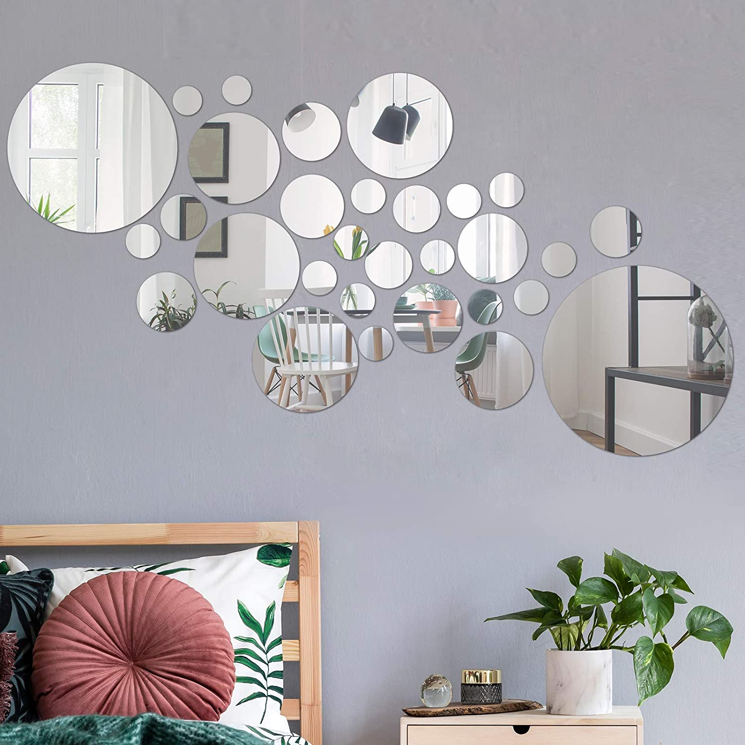 COCIVIVRE Mirror Wall Sticker, Circle DIY Round Wall Stickers for Wall Decoration 30pcs, Reflective Removable Adhesive Acrylic Wall Sticker Decal for Room Bedroom Tiles Aesthetic Wall Decor, Silver