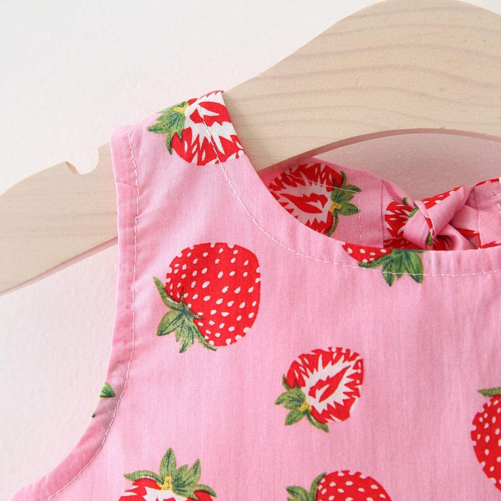 Mbby Tuta Bambina Cappello di Paglia Set Fumetto Outfits Estivi Completino Neonato Ragazza 2 Pezzi Tute in Cotone Abito Spiaggia Stampa Frutta
