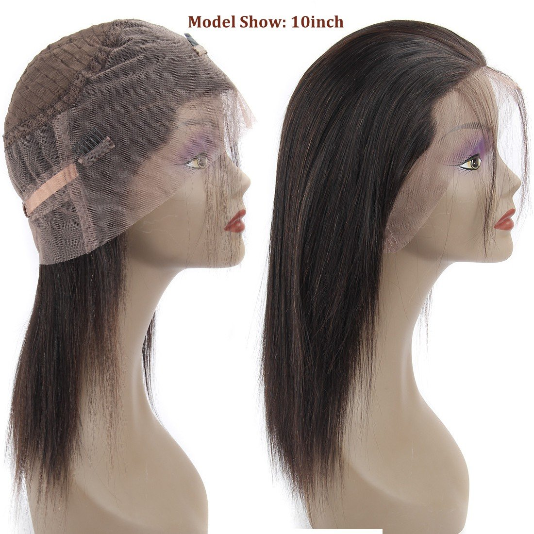 360 Frontal Lace Wig Straight 360 Lace Front Human Hair Wigs Peruvian Virgin 360 Lace Frontal Wig 130% Density with Pre Plucked Natural Hairline Baby Hair 360 Degree Lace Human Hair Wig (14inch) by QUEENA (Image #5)