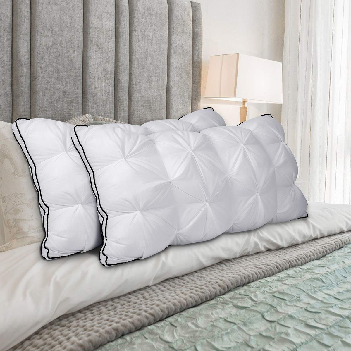 2 Pack Standard Size HOMEIDEAS Luxury Hotel Bed Pillow D01V286A Dust Mite Resistant /& Hypoallergenic Super Soft Plush Fiber Fill Twisted Design Alternative Bed Pillows for Sleeping No Flat!