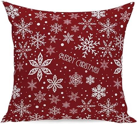 Imagen deLYFLYF Funda De Cojín Sofá Fundas De Almohada Decorativas Throw Cotton Linen Home Decor 45 * 45cm Red Christmas Holiday (Conjunto De 2),D