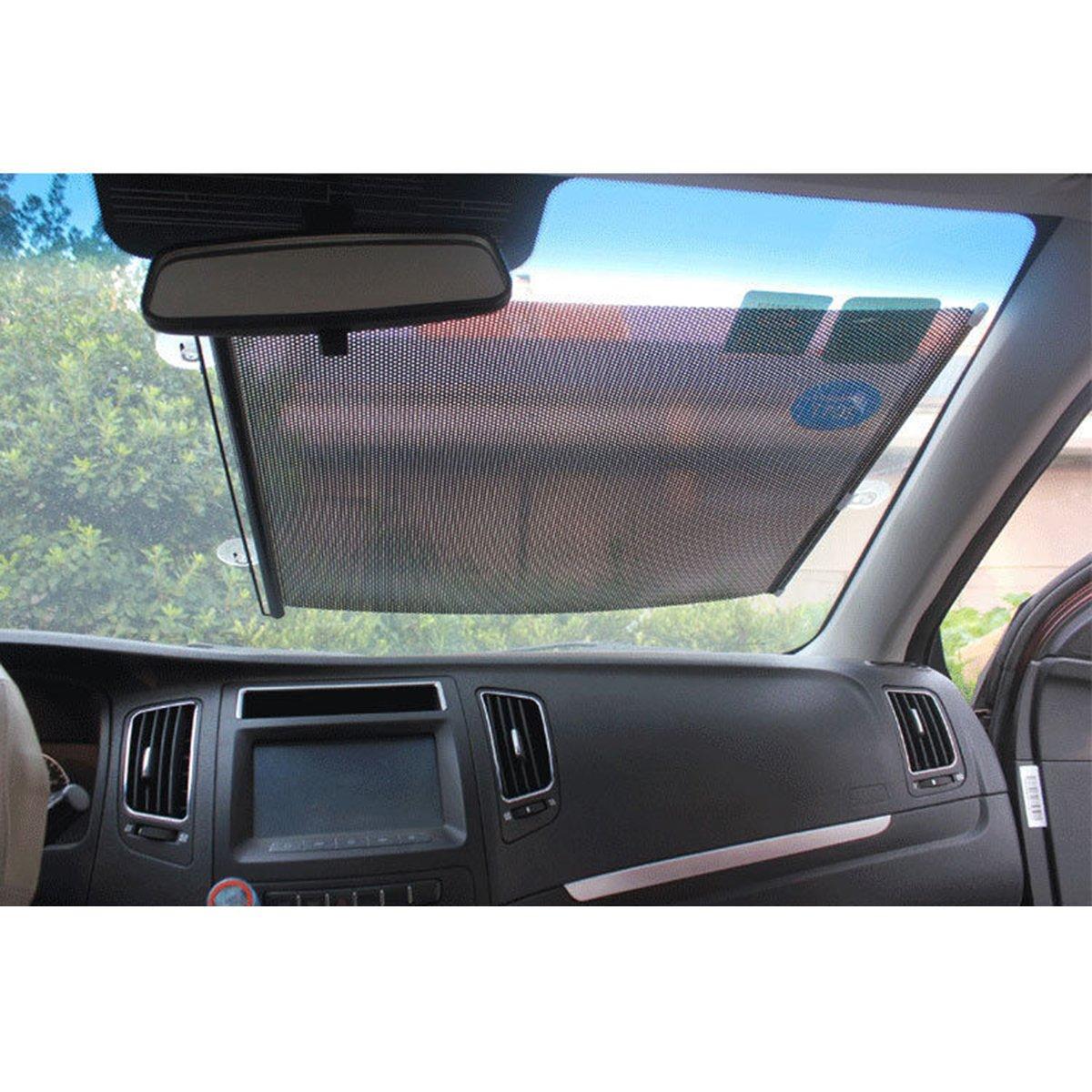 uxcell 2pcs Black Car Sun Shade Side Nylon Mesh Window Curtain Foldable Sunshade UV Protection 43 x 46cm