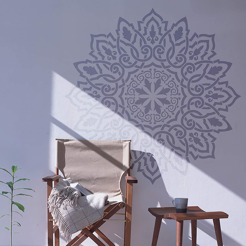 Amazon Com Stencilit Arabic Mandala Stencil For Wall Painting Xl Size 24 X 40 Indian Mandala Table Stencils For Wood Walls Or Textile Handmade