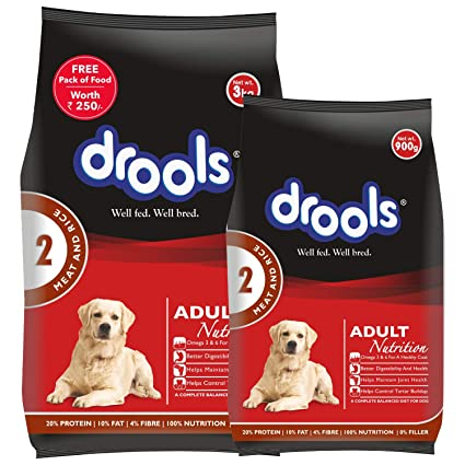 Drools Meat And Rice Adult Dry Dog Food 3kg 900 Gm Free Amazon In Pet Supplies