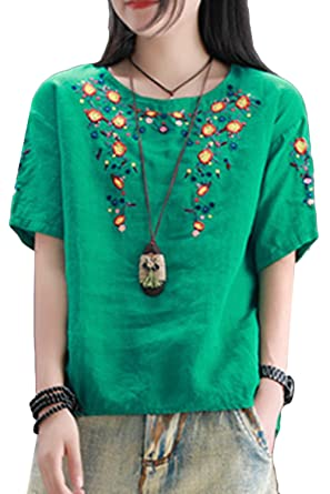 d13933c0b0e7f ASHER FASHION Women Summer Cotton Short Sleeve Floral Embroidered Blouse  Tops (Green)