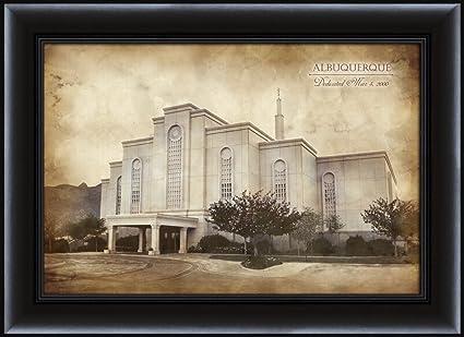 Amazon.com: LDS (Mormon) 16 x 22 Framed Vintage Albuquerque Temple ...