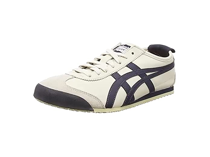 Onitsuka Tiger Mexico 66 Low Top Sneakers Herren Weiß mit Blauen Streifen (Birch/India Ink/Latte)