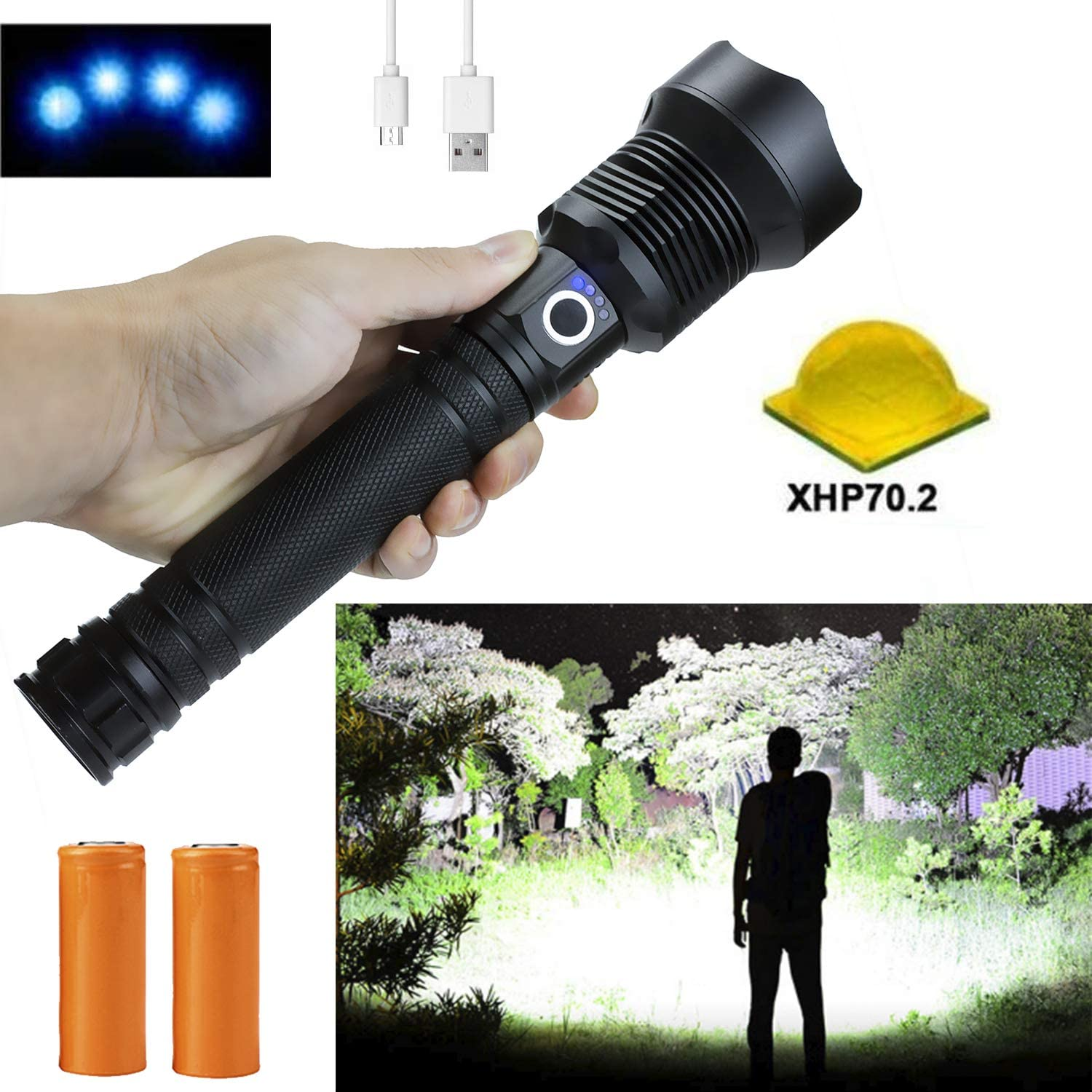 Rechargeable Flashlights High Lumens, 90000 Lumens Super Bright Led Flashlight Powerful Tactical Flashlight with Batteries Included, Zoomable, 3 Modes, Waterproof Flashlight for Emergencies, Camping: Home & Kitchen