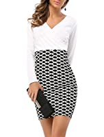 Abby&Mavis Women's Casual Colorblock Check Wear To Work Office Career Sheath Pencil Dress
