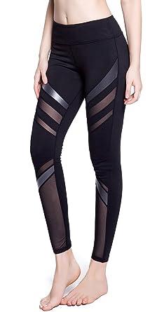 b7a5d052b72d5 SPECIALMAGIC Women's Active Tummy Control Mesh Stripe Workout Yoga Pants  Sports Leggings Black XS