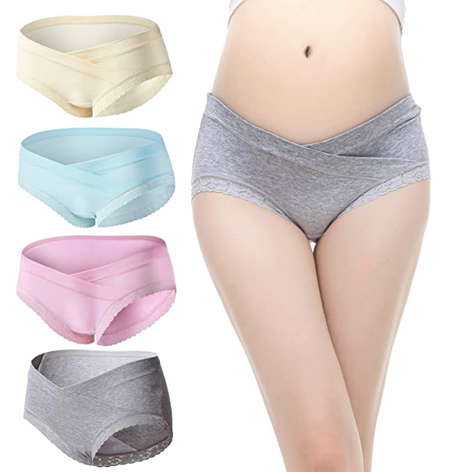 185c8511bc83 Slimart 4 PCS Cotton Maternity Pregnant Mother Panties Lingerie Briefs  Underpants Underwear (Medium (fits