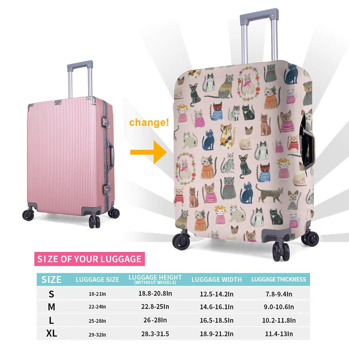Washable Spandex Travel Luggage Protector Print Baggage Suitcase Cover Lovely Cartoon Group Of Cats Fits 18-32 Inch