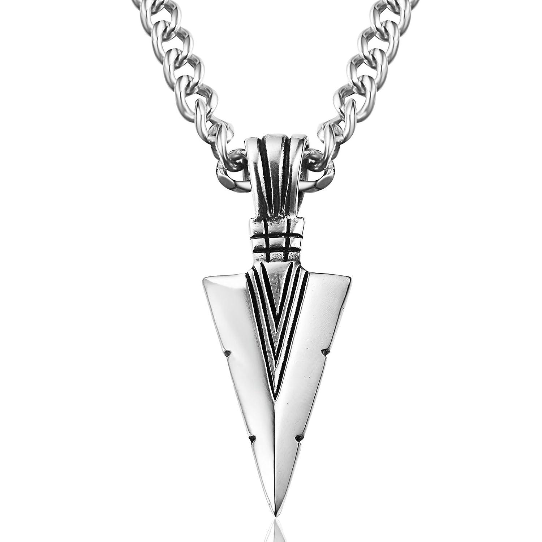 Jstyle Joyería en Acero Inoxidable Colgantes Flecha para Hombre Plata Collar Largo 61cm: Amazon.es: Joyería
