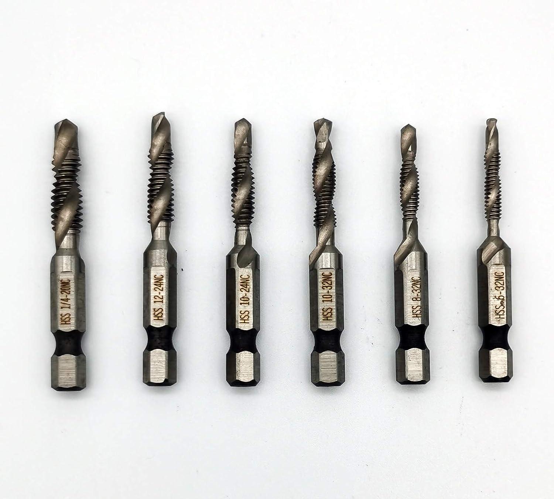 Combination Tap Drill Bit Set 1//4-Inch Hex Shank HSS Deburr Countersink Bits Kit 6-32NC 8-32NC 10-32NC 10-24NC 12-24NC 1//4-20NC