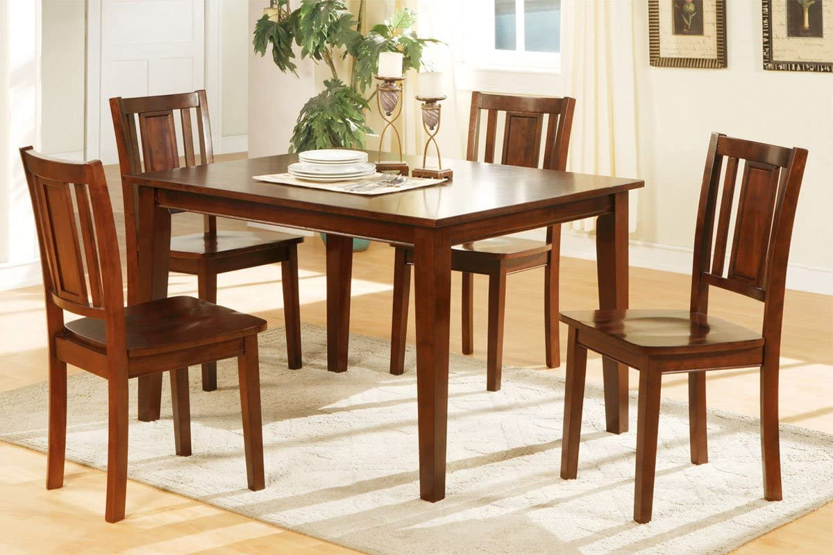 Amazon Com Poundex Kitchen And Dining Room Sets Brown Table Chair Sets