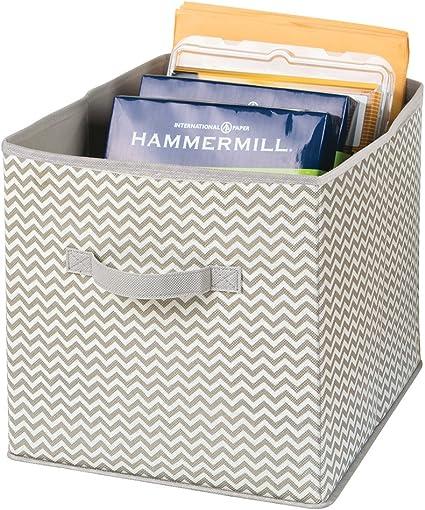 mDesign Cajas organizadoras con Asas - Organizadores Grandes para artículos de Oficina como Carpetas y Papel de Impresora - Caja para organizar útiles de Oficina, Taller, Estudio y más - Topo/Natural: Amazon.es: