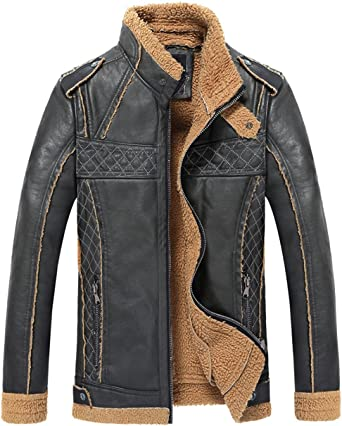 Jinmen Mens Slim Blade Motorcycle Leather Jacket