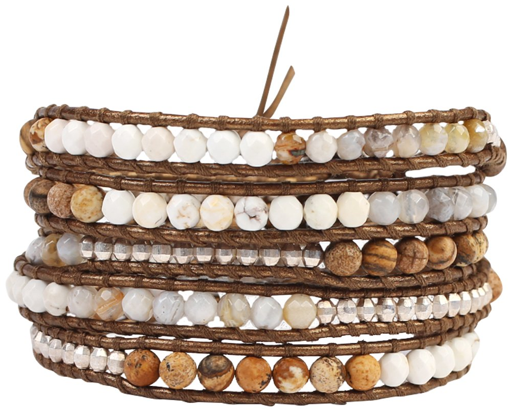 Chan Luu Matte Picture Jasper Mix Semi Precious Stones on a Brown Leather Wrap Bracelet