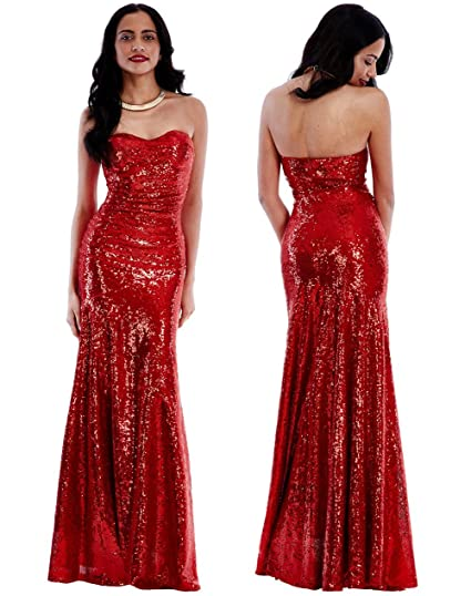 be4e20939d7 Goddiva Long Sequin Strapless Sweetheart Evening Maxi Dress with detachable  Straps (8)  Amazon.co.uk  Clothing