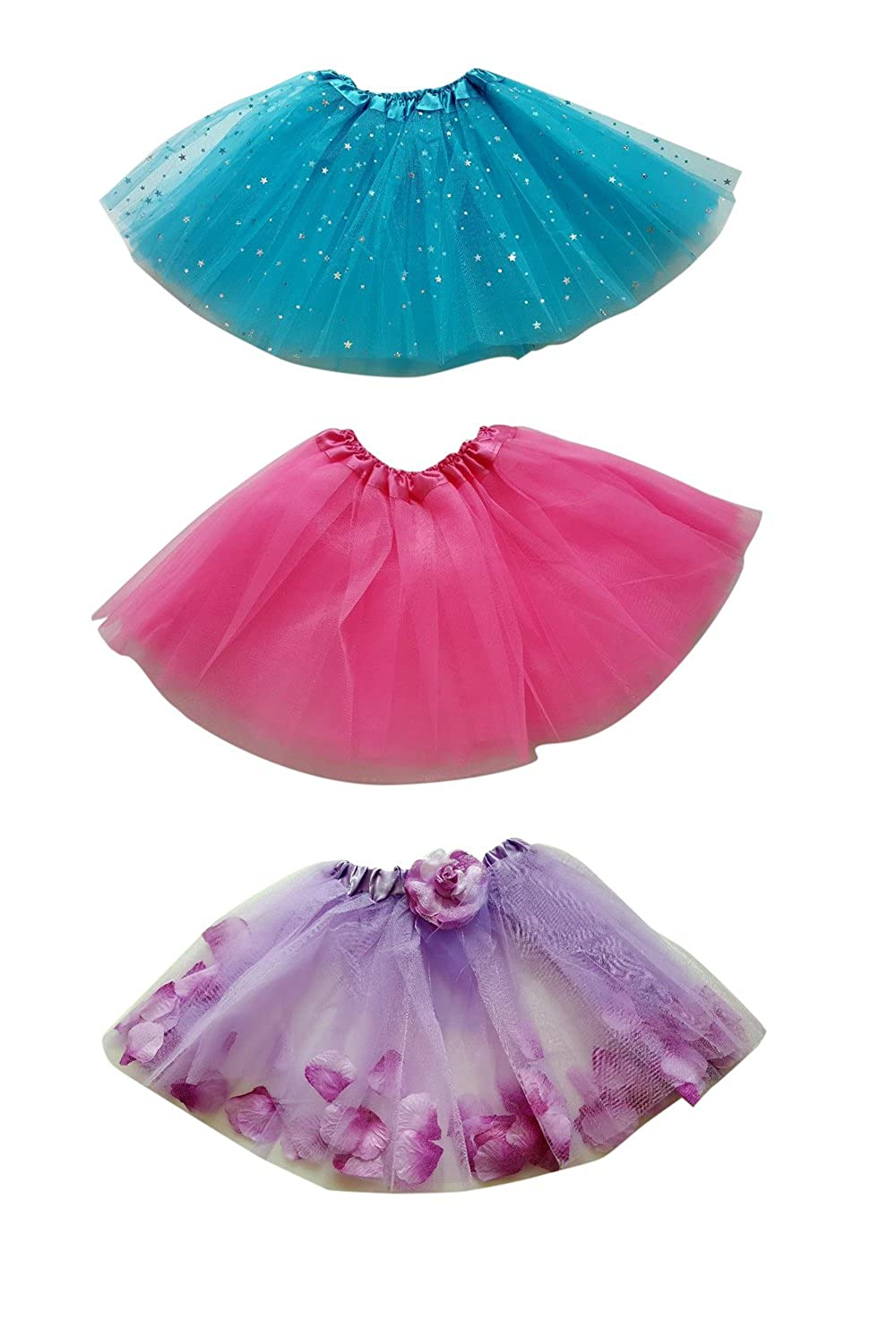 FANCYKIDS Girls Kids Princess Party Tutu Ballet Dance Play Tutus (3-Pack)