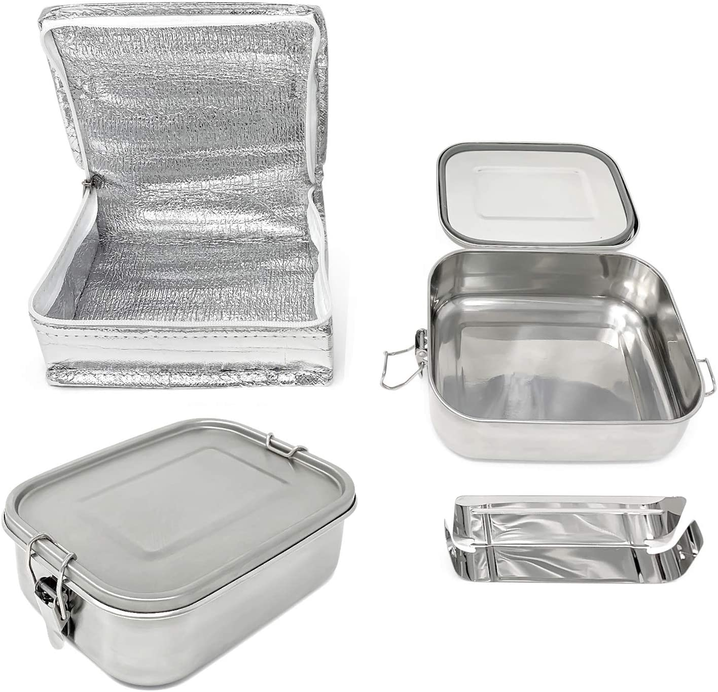 Leakproof Bento Lunch Box, Stainless Steel Lunch Seal Container, Metal Lunch Bag for Kids Adults, 1000ML, Dishwasher Safe, Food Safe, BPA Free