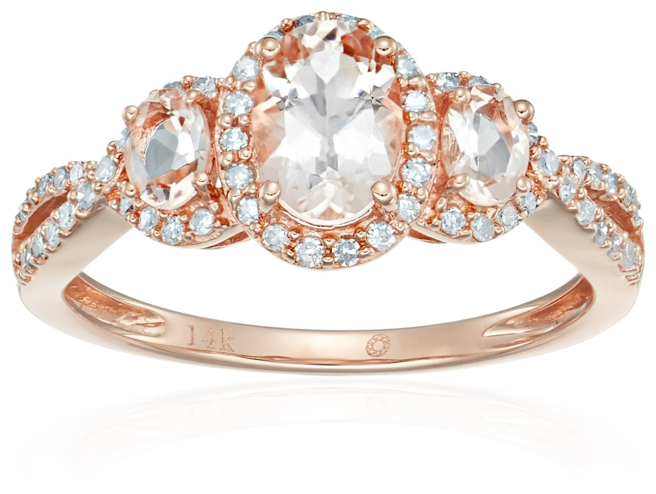 14k Rose Gold Morganite and Diamond 3-stone Halo Engagement Ring (1/4 cttw, H-I Color, I1-I2 Clarity), Size 7