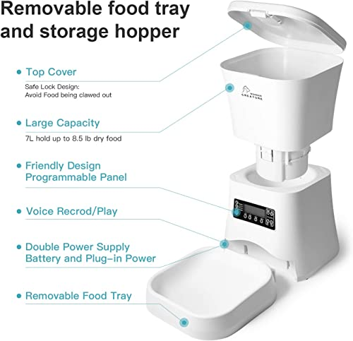 Automatic Pet Feeder, Cat and Dog Food Dispenser with Portion Control up to 4 Meals per Day, Voice Recording and Programmable Timer, Batteries and Power Adapter Support, Large Dry Food Capacity