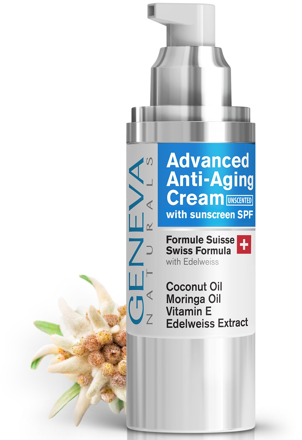 Facial Moisturizer with SPF (Unscented) - Natural Swiss Anti-Aging Formula SPF 20 Features Coconut Oil, Vitamin E, Edelweiss Extract With Everyday Sun Protection for Men & Women - 1oz