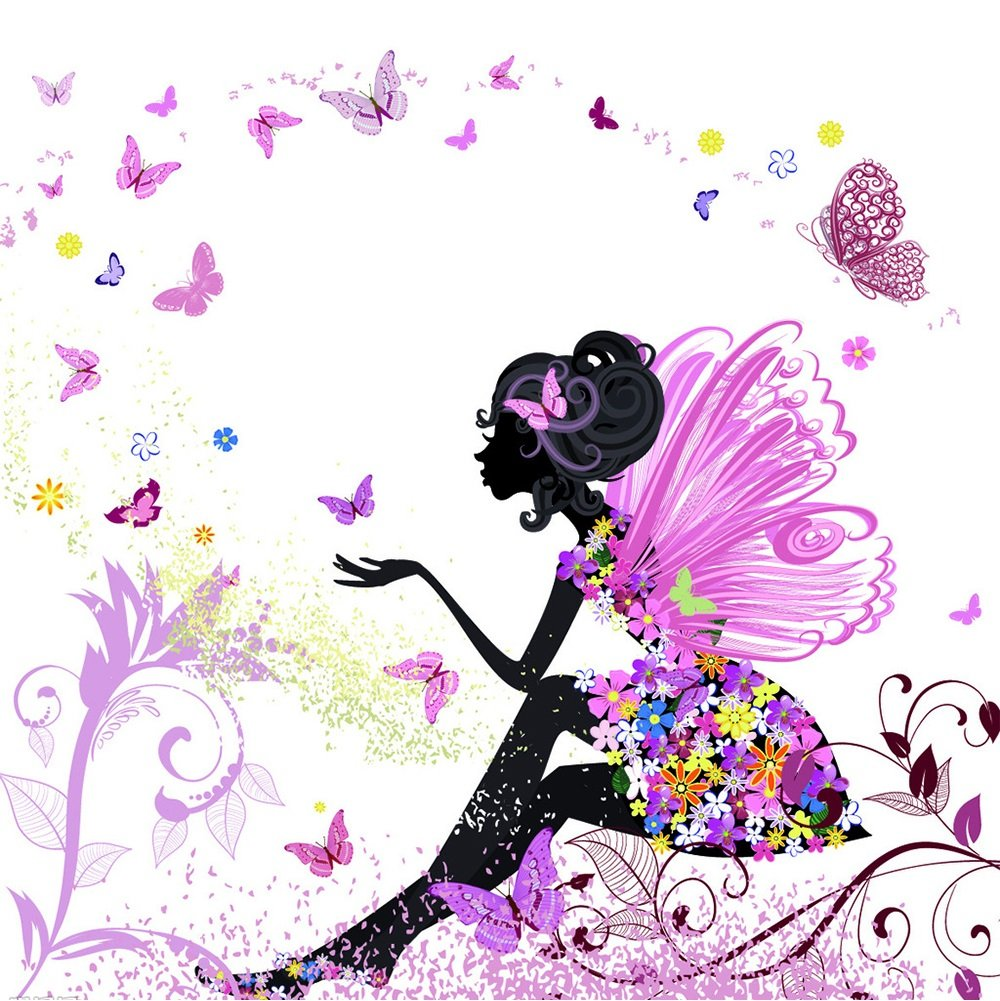 Blxecky 5D DIY Diamond Painting By Number Kits,Flower Fairy(12X12inch/30X30CM)
