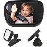 WisFox Specchio auto Bambino Specchietto Auto per Bambini per Sedili Posteriori Specchio sedile posteriore dello specchio del sedile posteriore del bambino per il bambino, Nero