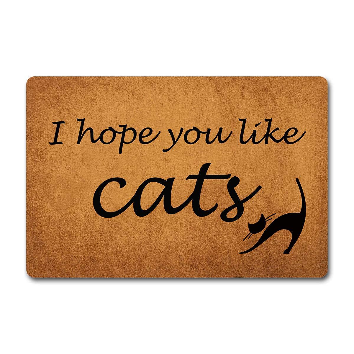 "ST Entrance Door Mats I Hope You Like Cats Monogram Funny Welcome mat for Entrance Way Outdoor/Indoor Bathroom/Kitchen Anti-Slip Rubber Rugs Custom Doormat 23.6""(W) X 15.7""(L)"
