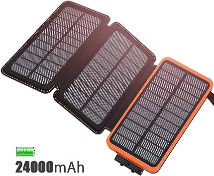 FEELLE Cargador Solar 24000mAh Batería Externa, Portátil Power ...