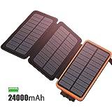 FEELLE Chargeur Solaire 24000 mAh, Portable Power Bank 3 Panneaux solaires vec 2Ports USB Deux Entrées(Lighting Micro), Compatible Smartphone, Tablette Autres