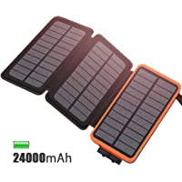 FEELLE Solar Ladegerät Powerbank 24000mAh wasserdicht Power Bank with 3 Solarzellen für iPhone, iPad, Samsung, Huawei und andere Geräte (Orange 24000mAh)