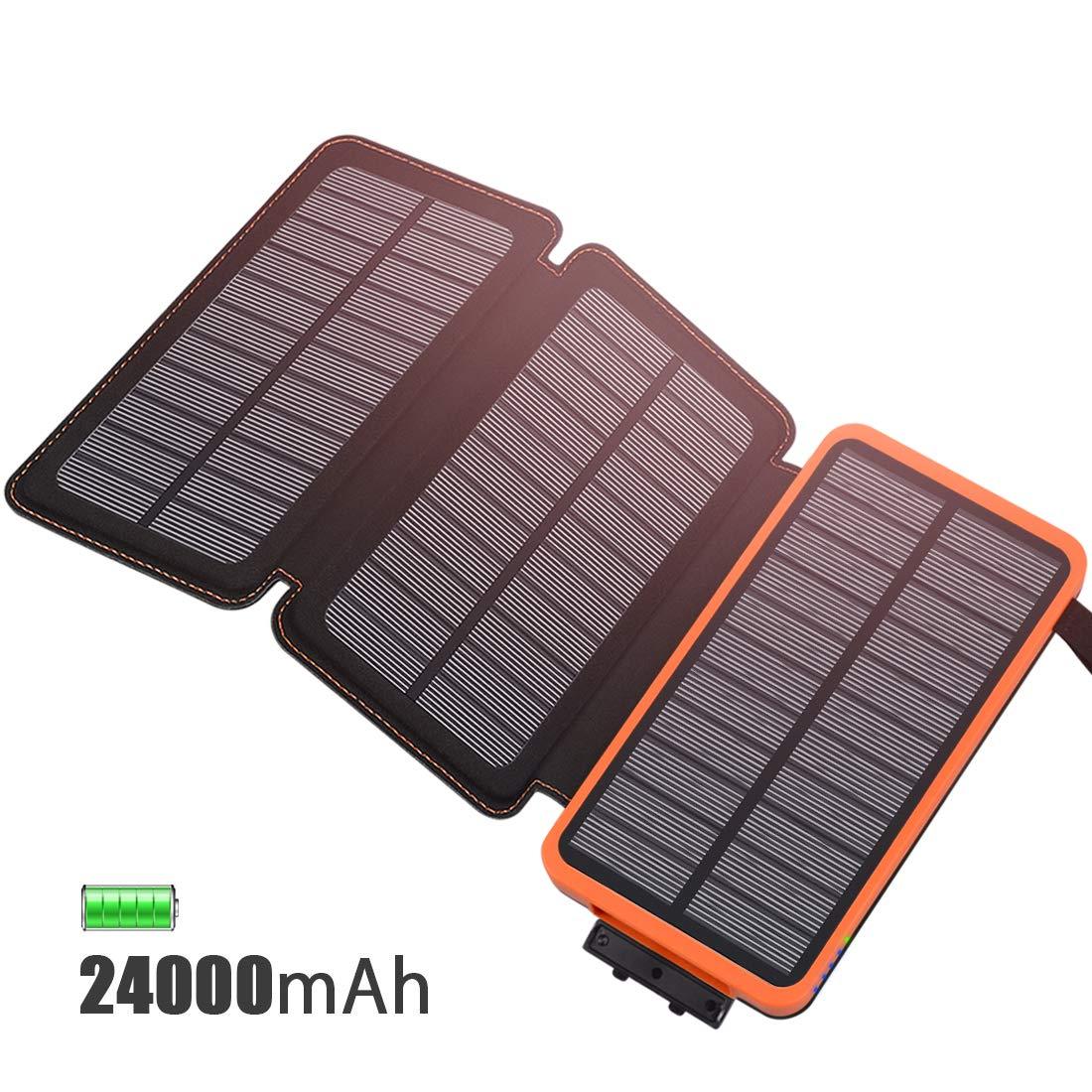 FEELLE Cargador Solar 24000mAh Batería Externa, Portátil Power Bank con...