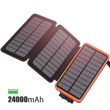FEELLE Cargador Solar 24000mAh Batería Externa, Portátil Power Bank con 3 Paneles Solares con USB 2.1A Cargador para Android Phones, Tablet y Otros ...