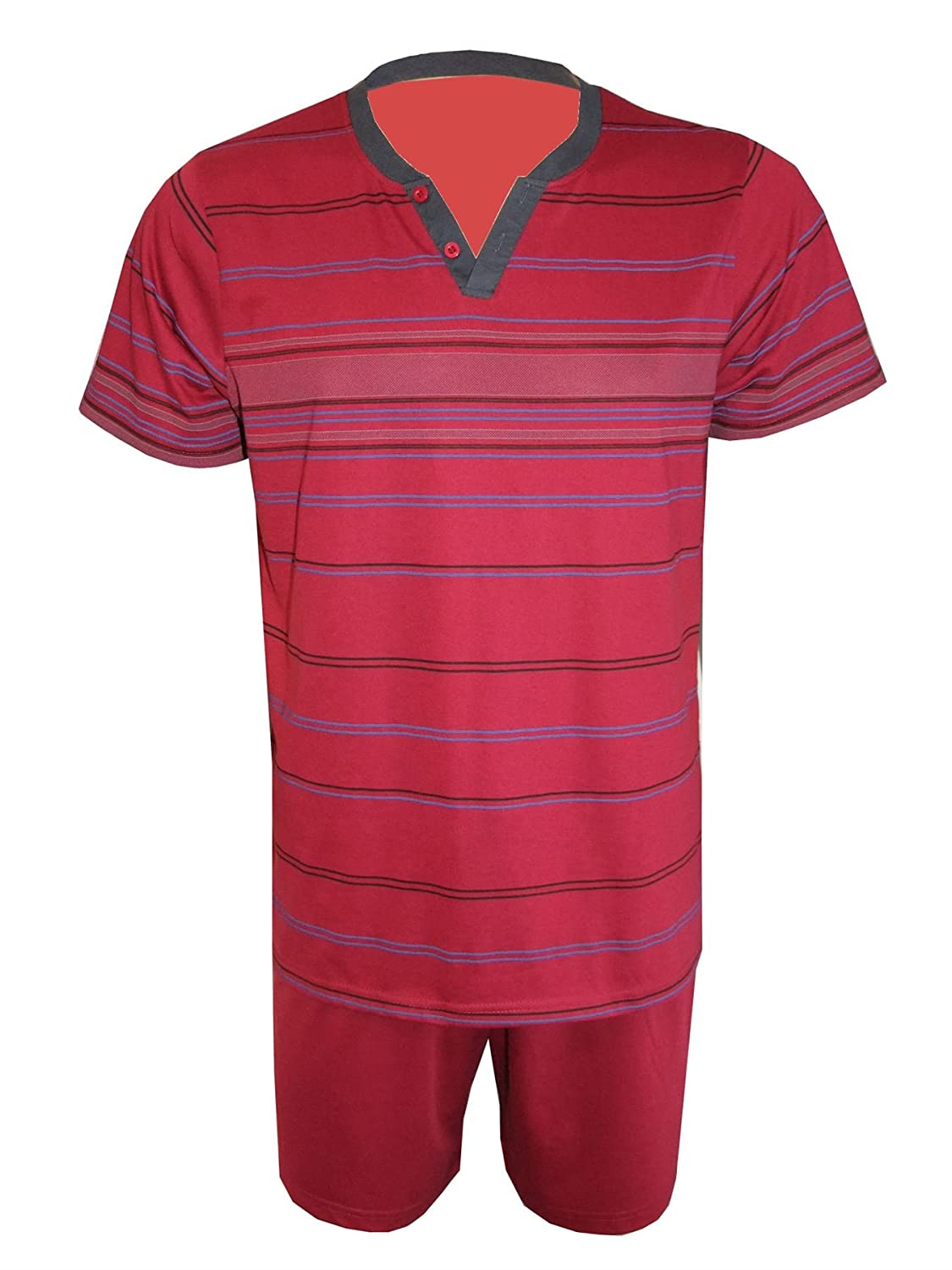 i-Smalls Mens Short Pyjama Set Super Soft Cotton V Neck Sleepwear with Black Eye Mask