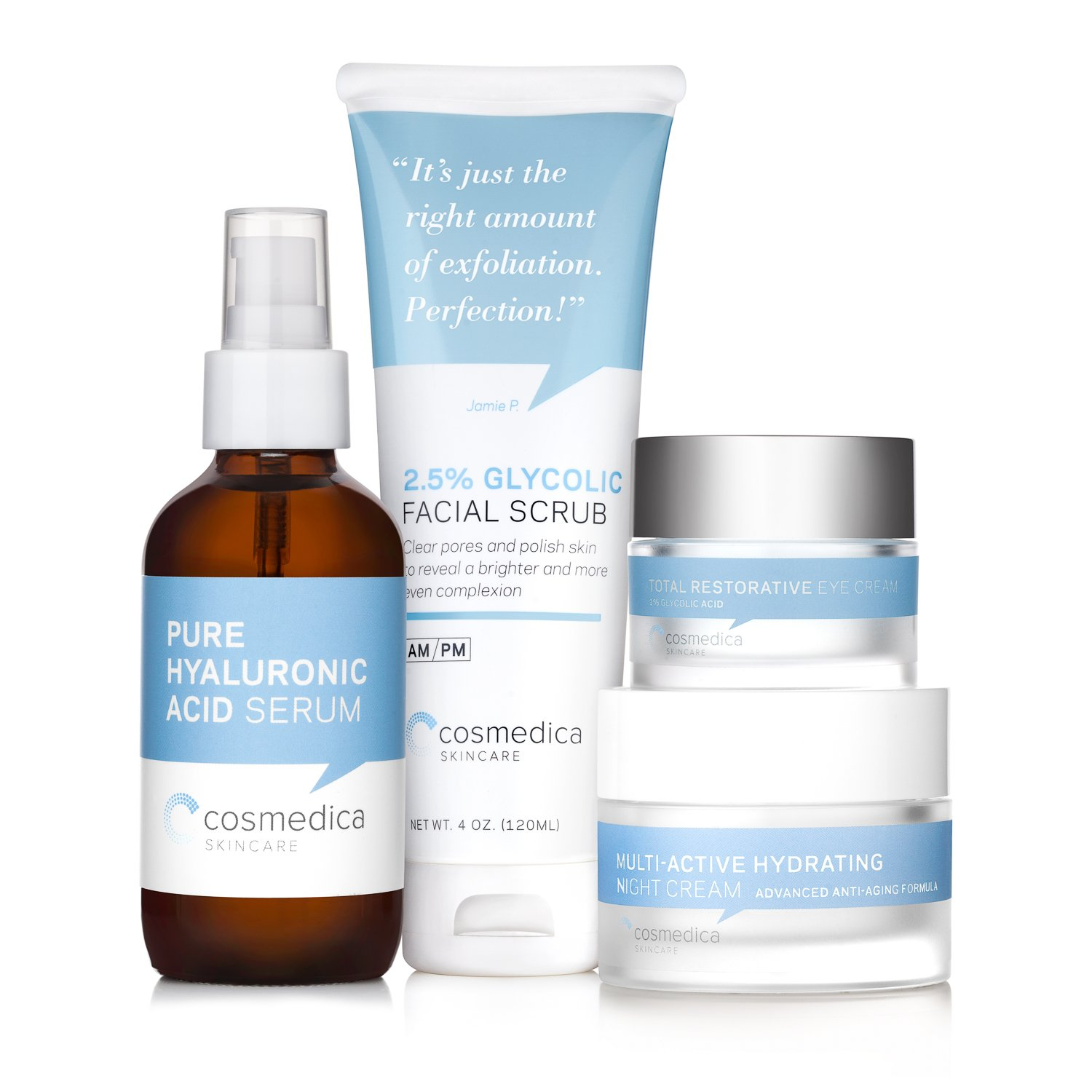 Complete Skincare Kit- Hyaluronic Acid Serum (4 Ounce), Glycolic Facial Scrub (4 Ounce), Multi Active Hydrating Night Cream and Total Restorative Eye Cream