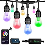XMCOSY+ Outdoor String Lights - Patio Lights RGB & White 98 Ft LED Smart String Lights Outdoor 2.4GHz Wi-Fi & App Color Strin