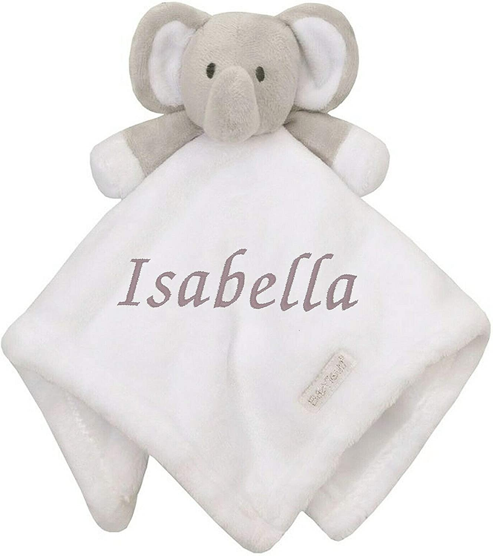 Personalised Baby Girl Boy Comforter Blanket Unicorn Elephant Bear Blue Bobble