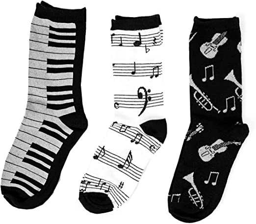Womens 3 Pairs Music Notes Piano and Musical Instruments Novelty Musician Dress Crew Socks