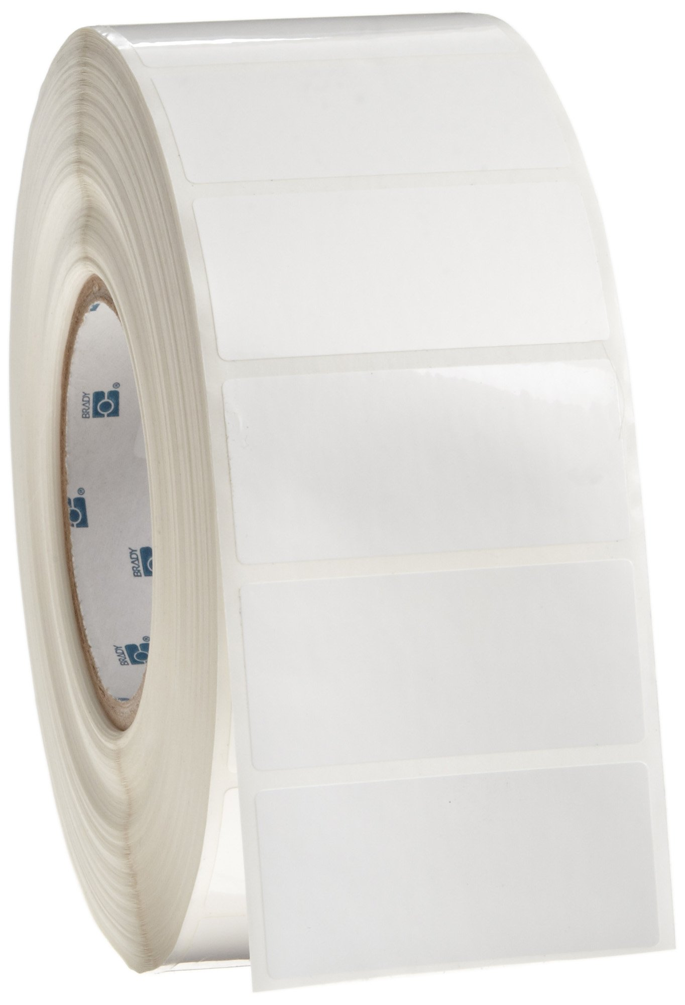 Brady THT-7-422-3 2.75'' Width x 1.25'' Height, B-422 Permanent Polyester, Gloss Finish White Thermal Transfer Printable Label (3000 per Roll)