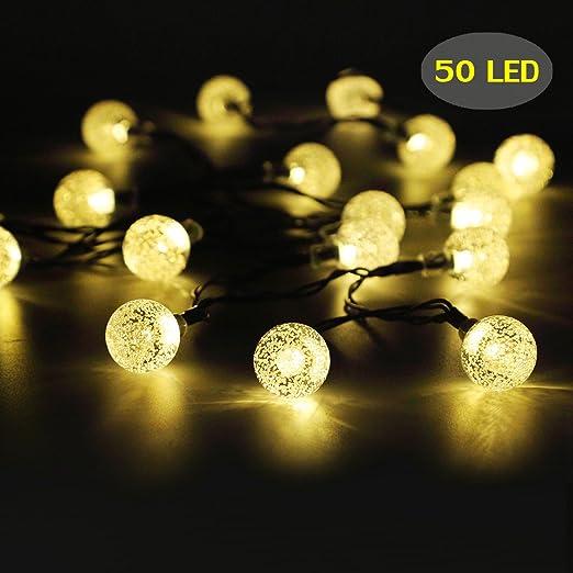 50 LED Solar String Lights Outdoor Waterproof Solar Powered Garden Lights  Iihome 22feet Crystal Ball Decorative