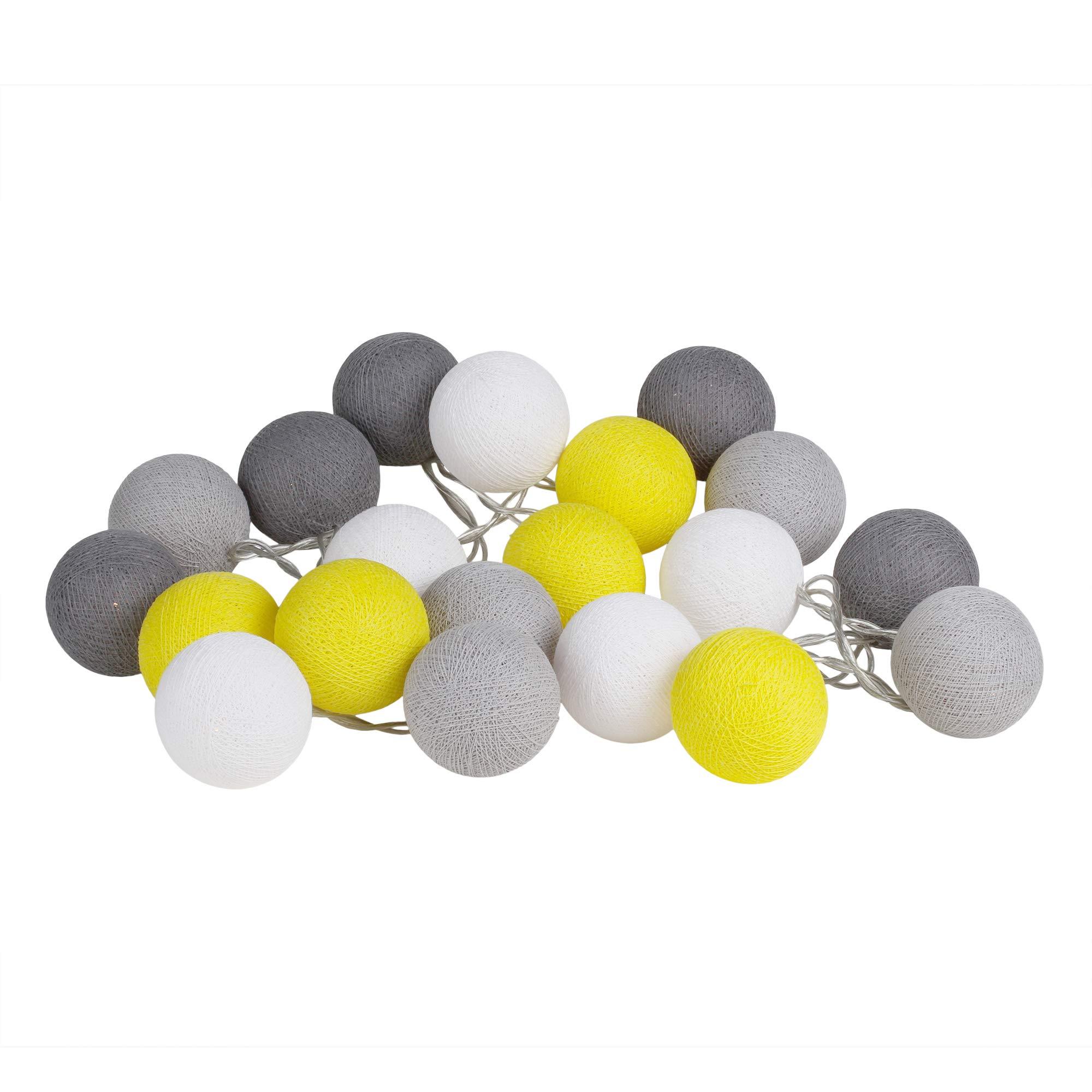 CHAINUPON 20 Cotton Ball String Fairy Lights Kid Bedroom,Home,Decor,Boys Girls Plug in Lights (Yellow Gray)