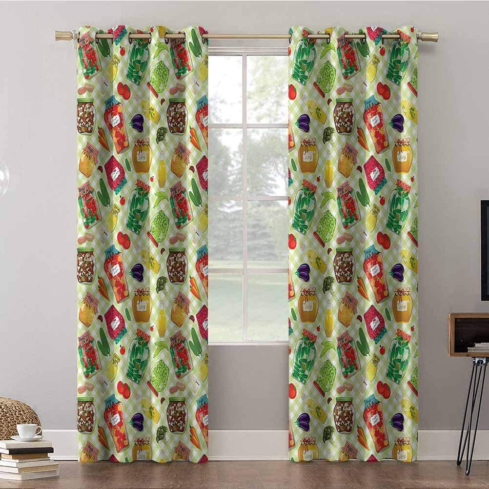 Aishare Store Blackout Curtains for Bedroom, 96 inches Long Window Treatment Thermal Insulated Grommet, Kitchen,Foods Glass Jars on Table, Room Darkening Curtains/Drapes for Bedroom(2 Panels)